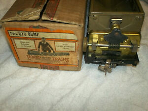 Lionel 218 Dump Car Mojave Brass Ends with Box Standard Gauge