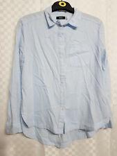 Ladies BDG Button-Down Shirt Size XS Pale Blue Cotton Collar Long Sleeve Office