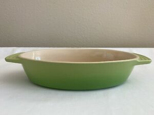 """LE CREUSET STONEWARE OVAL BAKING DISH ~ PALM (GREEN OMBRE)  13.5 X 7.25"""""""