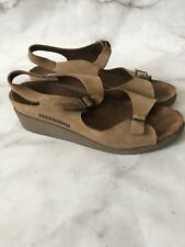 Mephisto Mobils Air Relax Wedge Sandals Brown Nubuck Leather Size 39 9 Womens