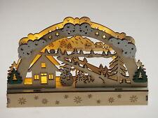 Wooden Alpine Nordic Scandinavian Light Up Christmas Scene Ornament - Snowman