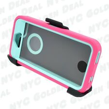 For iPhone 5/5S/SE Defender Case w/Screen [Belt Clip Fits Otterbox] Pink Teal