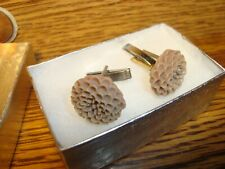 1 Pair #2 BROWN Flower Blossom Design Hamilton Silver Plated Cuff links.
