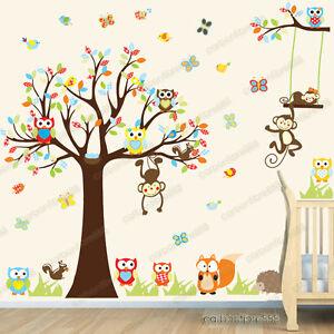 Jungle Animal Owl Monkey Tree Wall Stickers Kids Art Decor Mural Decal Nursery