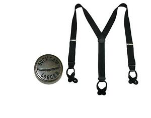 New CTM Men's Elastic Button End Dress Suspender with Bachelor Buttons