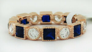 SAPPHIRE & WHITE SAPPHIRES ETERNITY RING .925 Silver (ROSE) NWT SIZE 6