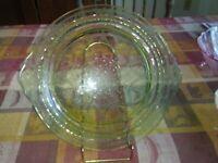 VINTAGE HOCKING GREEN PRINCESS DEPRESSION GLASS SERVING PLATE