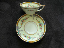 MYOTT VINTAGE ART DECO CUP & SAUCER/1930'S, ENGLAND/ YELLOW,BROWN,PINK,GREEN
