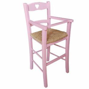 Seggiolone in legno seduta in paglia bimbo bambini rosa casa pizzeria ristorante