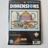 "Dimensions Teatime Pansies Debbie Mumm Counted Cross Stitch Kit  Teapot 7x5"" New"