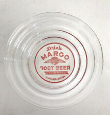 "rare MARGO Root Beer Advertising ASHTRAY clear Glass 4"" round 1"" tall ROOTBEER"