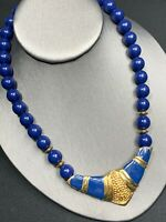 Vintage Necklace Bib statement Royal Blue Hold Enameled Pendant beaded  16""