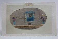 Original ANTIQUE 1870/80's PHOTO CDV Albumen Tinted CHINESE LITTER SEDAN CHAIR 轎
