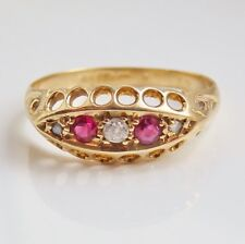 Charming Antique Edwardian 18ct Gold Ruby & Diamond set Ring c1910; UK Size 'M'
