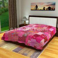Indian Sari Patchwork Kantha Quilt Queen Bedding Throw Reversible Bedspread