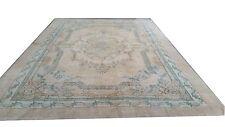 "11'10""x8'6"" CREAM BEIGE BLUE TEAL oushak pastel Vintage Overdyed carpet rug"