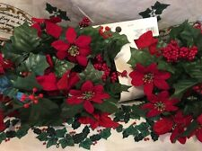 Red Gold Poinsettia Deluxe Garland 6 Ft Floral Christmas Decor Wreath Swag