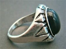 AT251*) Ethnic Tribal silver tone metal black inlay abstract Men's Ladies ring