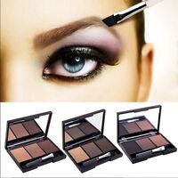 3Colores Maquillaje Cosmético Paleta De Sombras De Cejas Polvo Pincel Espejo WS