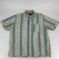 Fat Face Mens Button Down Shirt Size XXL 2Xl Short Sleeve Blue Stripe Cotton N8