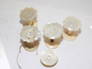 SEWING COLLECTABLES 5 x ANTIQUE CARVED SHELL MOTHER OF PEARL COTTON BOBBINS