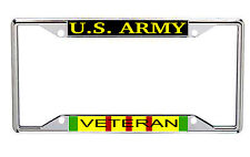 US Army Veteran Metal License Frame with Vietnam Service Colors Every State