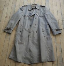Christian Dior Monsieur Mens Khaki Lined Wool Button Down Trench Coat Size 46L