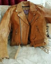 LC LEATHER CLUB Motorcycle Cruiser Leather Jacket Size 36 Chaps and Size Small