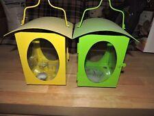 Set of 2 Vintage Retro Metal Hanging Lanterns