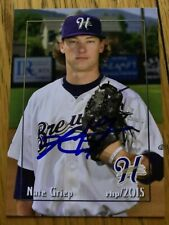 Nate Griep 2015 Helena Brewers Signed Team Card
