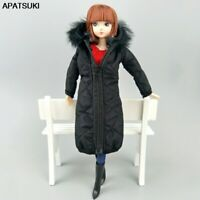 """Black Winter Long Coat for 11.5"""" 1/6 Doll Clothes Outfits Parka 1/6 Doll Jacket"""