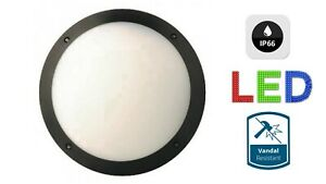 LED BULKHEAD LIGHT BLACK DRUM ROUND 12W CEILING WALL IP66 BATHROOM OUTSIDE NEW