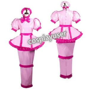 Sissy maid pvc dress lockable cosplay costume Tailor-made@