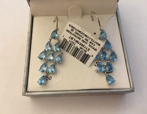 SJM HUGE LONDON BLUE CHANDELIER EARRINGS FANCY STERLING