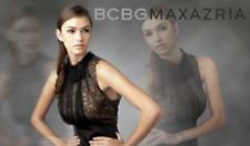 $298 BCBG MaxAzria Black Lace Rosette Pencil Cocktail Dress Size 2 XS