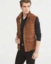 Polo Ralph Lauren Men's Quilted Suede Down Vest Brown  Sz  M NWT $1095