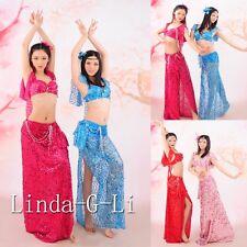 Sexy Professional Belly Dance sequins Costume Set 2 Pics Bra + Skirt  10/1 11/1
