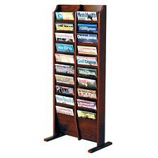 Wooden Mallet Cascade 20 Pocket Magazine Floor Rack in Dark Red Mahogany Finish