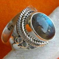 Labradorite Silver Ring 925 Solid Sterling Silver Handmade Ring Size 3-13 US