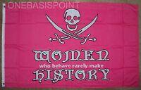 3'x5' Jolly Roger Women History Flag Pirate Girl Power Skull Crossbones Pink 3X5