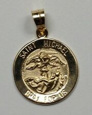 #M-15 14Kt Yellow Gold Small Round St. Michael Pray For Us Religious Medal