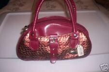 GREAT Small GENUINE LEATHER Metallic BOWLER Handbag
