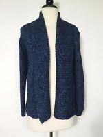 Croft & Barrow Cardigan Sweater Blue Open Front  Knit Women's Size Medium