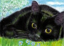 BCB Black Cat Forget Me Not Flowers Tree Grass Clouds Print of Painting ACEO