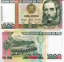 PERU 1000 Intis Banknote World Paper Money UNC Currency Pick p-136b Bill Note