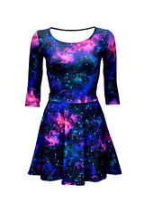 Women's Blue Purple Galaxy Cosmos Stars Planets Rockabilly 3/4 Sleeve Dress
