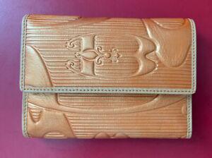 Braccialini Golden? Embossed Italian Leather Wallet * Amazing Detail