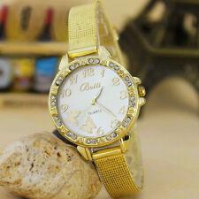 Caliente 2017 Mujeres Cinturón fino de oro diamante más vendidos Mariposa Reloj de aleación de patrón
