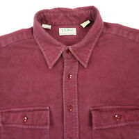Vtg USA Made LL Bean Chamois Flannel Work Shirt Mens XL Broken-In Soft Red