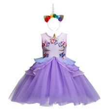 Unicorn Kid Girls Wedding Pageant Tutu Floral Gown Birthday Fancy Dress Costume